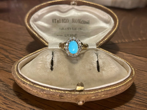 Turquoise and Diamond Halo Cluster Ring