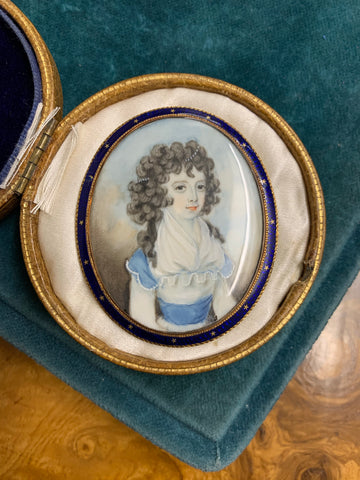 Georgian Portrait Miniature Pendant of Girl with Pearls in her hair