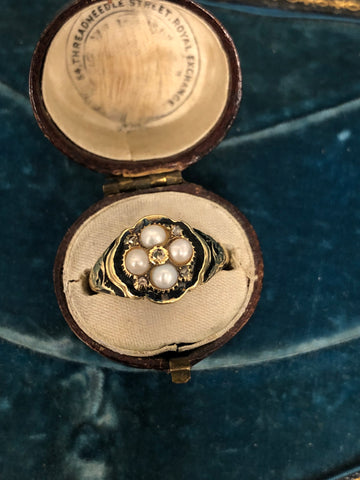 Georgian Pearl and Diamond Ring