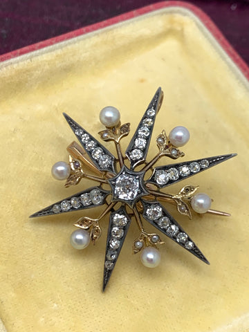 Private Sale Silver and Gold Old Cut Diamond Star Brooch