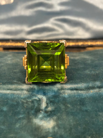 Vintage 20ct Peridot 18ct Ring