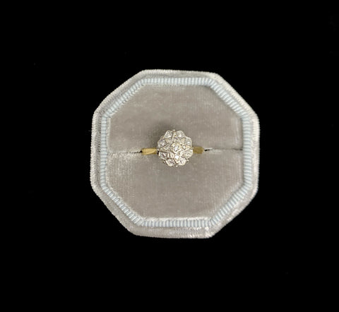 Vintage 18ct star shaped diamond cluster ring