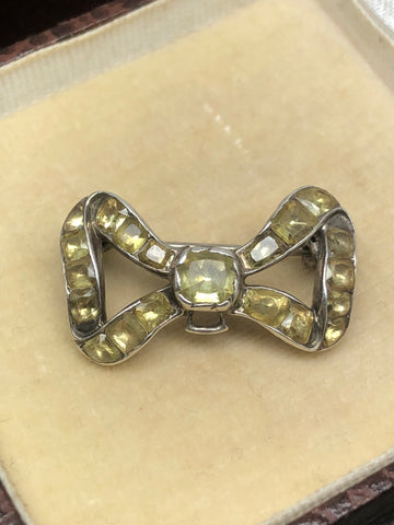 Georgian Silver Chrysoberyl Bow Brooch