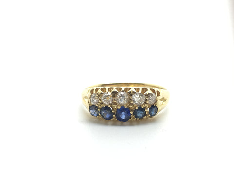 Edwardian Sapphire and Diamond Ring 18ct