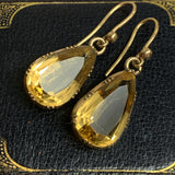 Victorian Collet set Gold Citrine Earrings