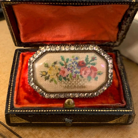 Georgian needlepoint brooch