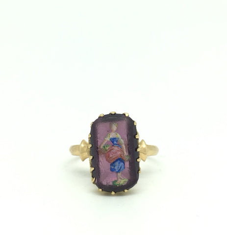 Rare 19th Century Painted Dress Ring