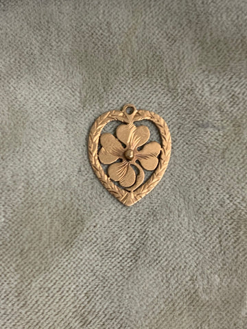 Reserved 18ct Porte Bonheur Heart and 4 leaf Clover charm
