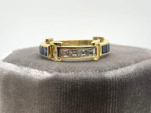 1/2 Carrè cut Sapphire and Diamond Flexi link ring