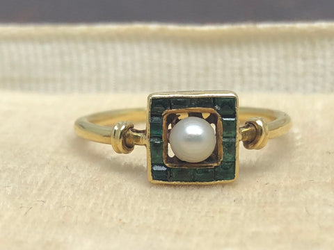 18ct Gold Emerald and Pearl Frame Ring