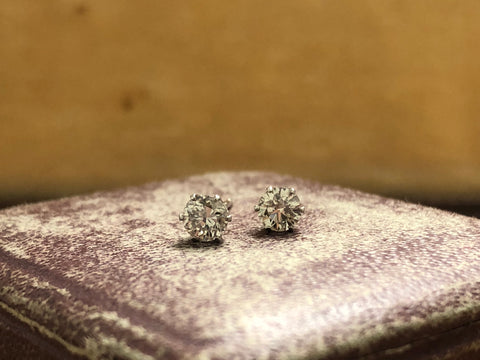 0.30ct old cut diamond studs in Platinum