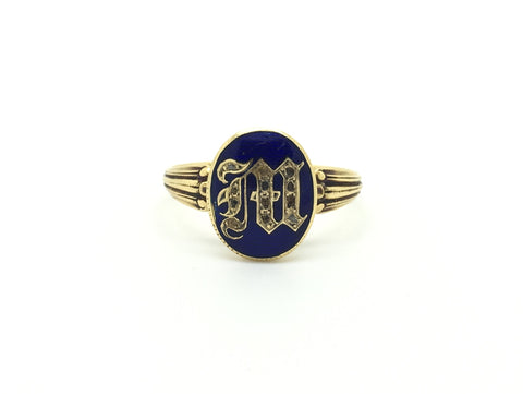 Victorian French M initial Enamel Ring