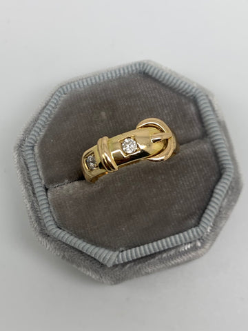 18ct Yellow Gold Diamond Buckle Ring