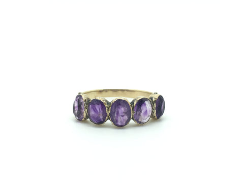 Part 3/3 Late Georgian / Early Victorian Five Stone Amethyst Ring