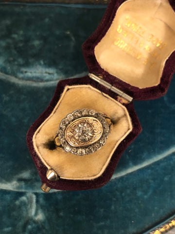 Boxed Georgian Old Cut Diamond Ring