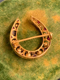 1920s 18ct Gold Ruby and Pearl Horseshoe
