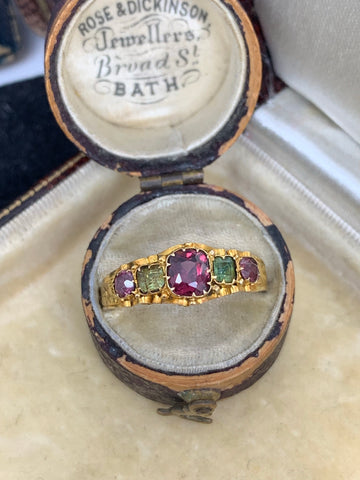 15ct Gold Garnet and Emerald Victorian 5 stone ring
