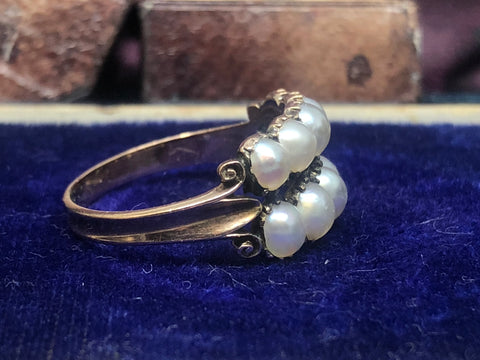 Georgian double row pear ring pt4