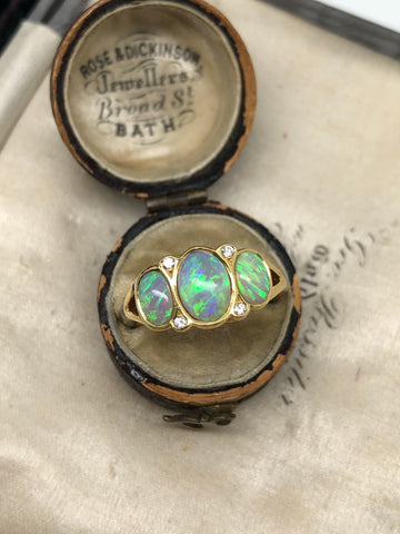 18ct Gold Opal and Diamond Ring