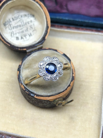 Sapphire and Diamond Edwardian Cluster Ring