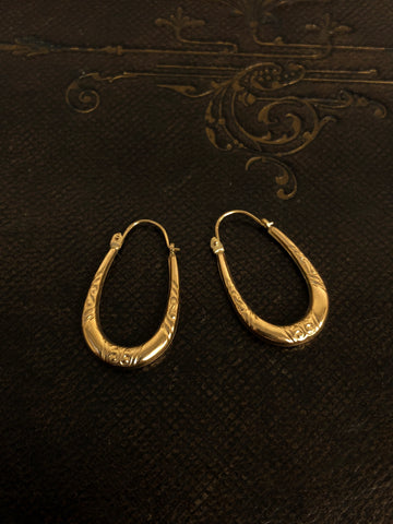 Vintage Gold Creole Earrings