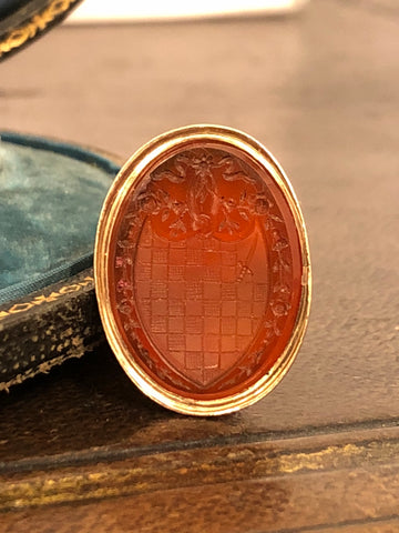 Part 1/2 Georgian Gold Carnelian Seal Fob