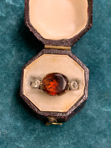 Reserved 19th Century Garnet and Diamond Ring