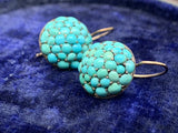Victorian Turquoise Button Earrings