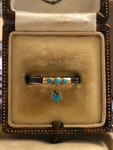 Victorian Turquoise Heart Dangle Ring