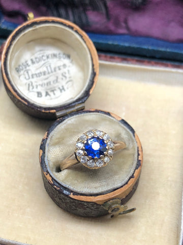 Edwardian Sapphire and old cut diamond ring