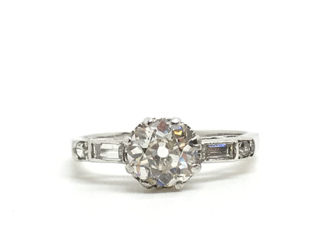 Certified Platinum Old Cut Diamond Engagement Ring