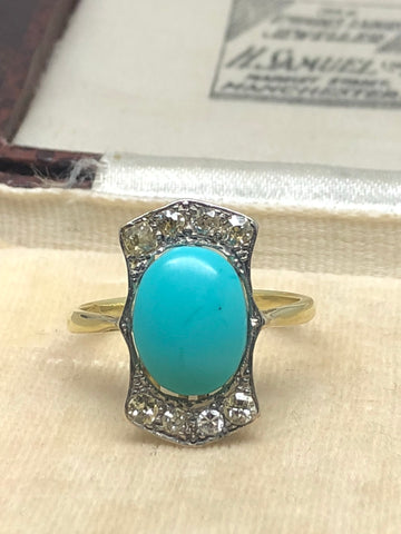 18ct Gold Turquoise and Diamond Panel Ring