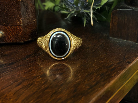 18ct Gold Victorian Agate Ring