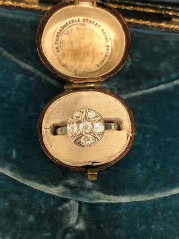 Art Deco Old Cut Diamond Cluster Ring