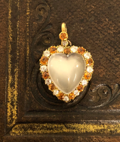 Victorian Moonstone and Hessonite Garnet Heart Locket