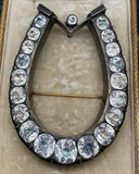 Late Victorian Paste Horseshoe Brooch