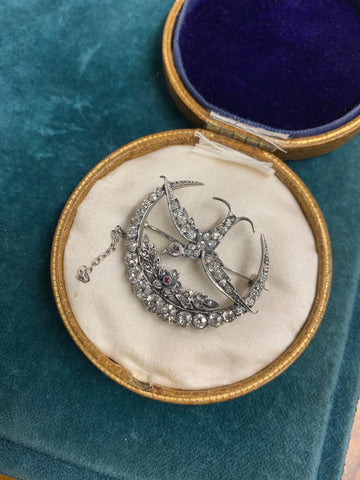 Early 20th century Diamond Crescent and Swallow Brooch