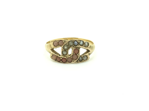 Reserved 15ct Gold Victorian Horse Shoe Coral and Pearl Ring