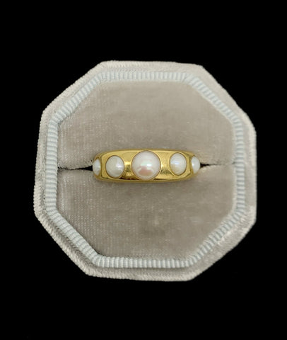 Victorian Pearl 5 Stone 18ct Gold Gypsy Ring