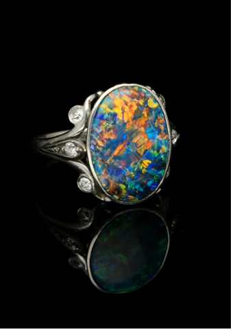 Part 3 Antique Platinum Black Opal Ring