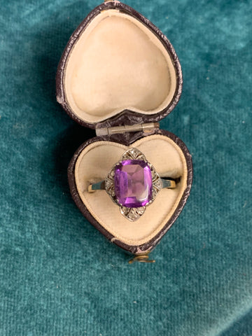 Buff Top Art Deco Amethyst Ring