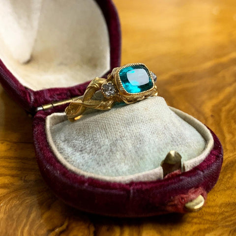 Part 2 Art Nouveau Emerald Paste Ring