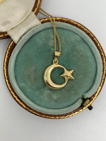 14ct Gold Crescent Moon and Star Pendant and Chain