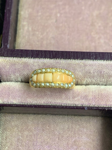 18ct Gold Victorian Coral and Pearl Ring
