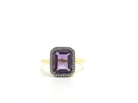 Stunning 18ct Gold Micro Pave Diamond and Amethyst Cocktail Ring