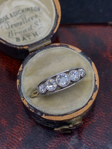 Vintage Old Cut diamond 5 Stone Ring