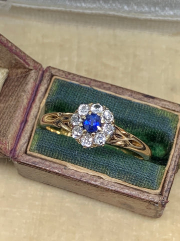 18ct Diamond and Sapphire Cluster Ring