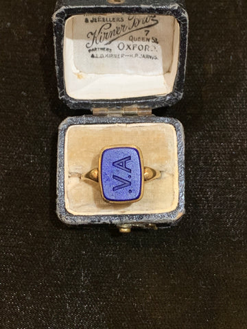 A.V. Victorian Lapis Lazuli Signet Ring in 18ct Gold