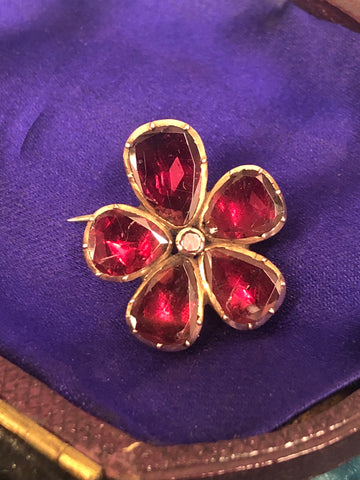 Gold Foiled Back Georgian Garnet Brooch