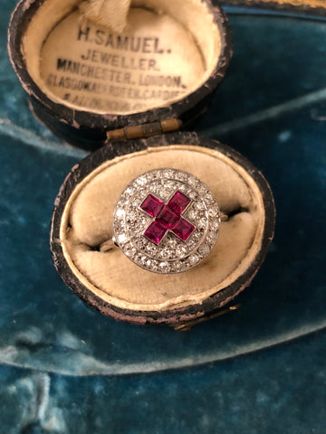 Art Deco Ruby and Diamond Platinum Cluster Ring